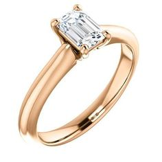 Diamond Rings : 0.75 Ct Emerald Ring 14k Rose Gold | Bridal Rings | Wedding Rings | Ring of the