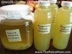 Ginger-Lemon Jasmine Kombucha - The Paleo Mom how to do it!…post fermentation…very little sugar involved! Healthy Recipes, Healthy Drinks, Whole Food Recipes, Cooking Recipes, Scd Recipes, Banting Recipes, Drink Recipes, Healthy Eats, Yummy Recipes