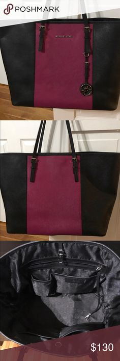 Authentic MK tote Black and pink. MK tote. Excellent condition. Michael Kors Bags Totes