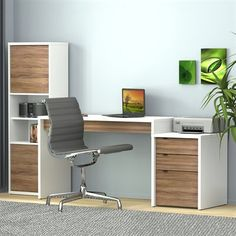 Nexera 400459 Liber-T Home Office Set This home office set by Nexera is available in a white/walnut finish. Liber-T Home Office SetThis home office set Home Office Design, Interior Design Living Room, Living Room Designs, Kids Bedroom Furniture, Home Furniture, Furniture Design, Study Table Designs, Wardrobe Door Designs, T Home