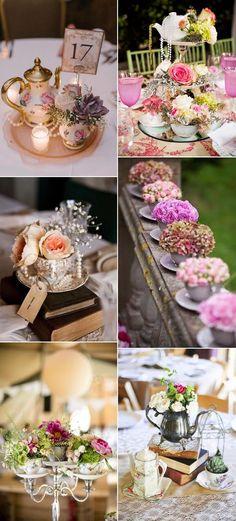 vintage teacup and teapot weddimg decoration ideas
