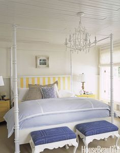 COASTAL BEDROOM IDEAS | Hanging for decades in the this same spot, the chandelier in the master bedroom of a Northern Michigan lake cottage was freshened with paint | Discover more: www.bocadolobo.com #bedroomdesign