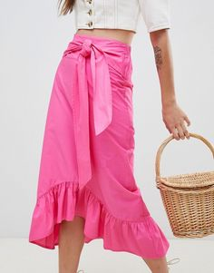 3b30ee75a ASOS | ASOS DESIGN cotton midi skirt with tie belt and ruffle hem Latest  Clothes,