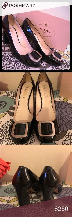 Prada black heels, Classic style EUC size 39 Gorgeous authentic Prada black patent heels, Italian leather, size 39. Chunky heel with front buckle on toe. (Fits approx size 8 1/2-9) Great used condition! Perfect with the Prada dress I have listed in my closet....bundle for bigger discount!! Box included Prada Shoes Heels