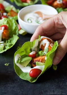 Get game day ready with these healthier low calorie Grilled Buffalo Chicken Lettuce Wraps! All the same great flavor with half the calories! These are delicious!  joyfulhealthyeats.com #recipes