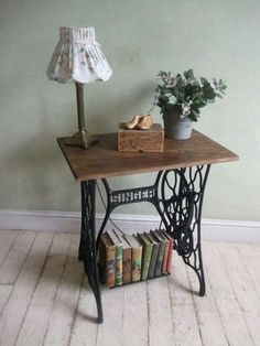 End table made from an old sewing machine