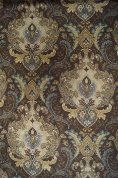 Brown Mill Creek Damask Fabric - Fabric by the Yard
