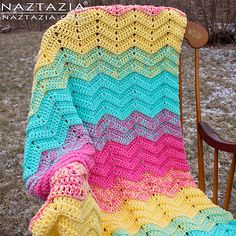 This blanket is extra sweet because it works up quickly using double crochet stitches and two strands of yarn held together. You can also blend yarn colors to create a softer effect when changing colors.