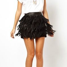 This leather fringe skirt just makes me want to twirl! Tassel Skirt, Fringe Skirt, Women's Mini Skirts, Tiered Skirts, Women's Skirts, Faux Leather Skirt, Leather Fringe, Pu Leather, Black Leather