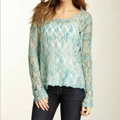 Free People Sweater Beautiful combination of blues and greens, this sweater will look amazing with jeans and your favorite cami. Made of 33% acrylic, 22% nylon, 16% wool, 11% polyester, 8% cotton. Free People Sweaters Crew & Scoop Necks