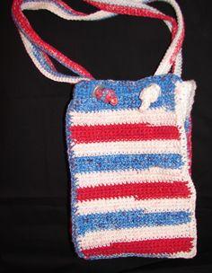 Red White Blue Crochet Purse