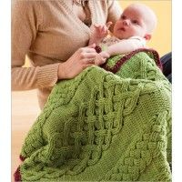 """Solas Caomah- Celtic Design Baby blanket pattern. Irish for """"tender comfort,"""" Sólás Caomh was shaped by Jodi Euchner for a beloved baby. The engaging cable pattern provides its own tender comfort to crocheters as they shape the soft cotton-wool blanket into an heirloom."""