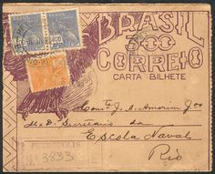 Brazil - 300Rs. Letter card (RHM.CB-99) + additional postage for 900Rs., sent by REGISTERED mail from Petropolis to Rio on 6/FE/1939, VF and rare!  Dealer Guillermo Jalil-Philatino  Auction Starting Price: 25.00 US$ (app. 20 EUR)