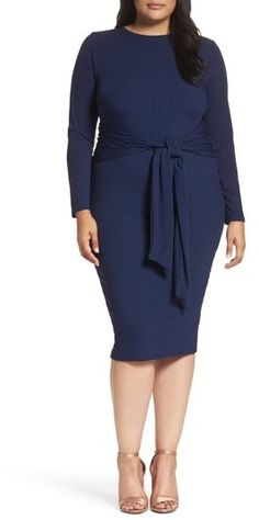 129f0c146f0 Plus Size Women s Lost Ink Tie Front Ribbed Sheath Dress Ribbed Knit Dress