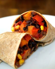 Vegan Sweet Potato and Black Bean Burrito ... Looks really similar to the one I love at Northstar Cafe!