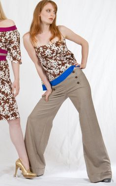 WideLeg Cuffed Sailor Pant in Dotted beige by speakeasyboutique, $125.00
