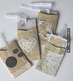 From toilet paper rolls, create little envelopes, place little pieces of paper inside and attach a writing tool!