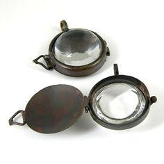 Magnifying Glass Lockets Pendants, Vintage Copper, Bubble Glass