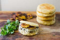arepas - stuffed w/ black beans, plantains and Havarti cheese