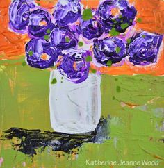 Acrylic Still Life Floral Mini Painting Impasto Purple Flowers Green Orange Wall Hanging House Warming Gift Friend No 170 - pinned by pin4etsy.com