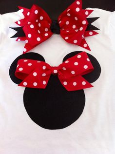 Minnie Mouse Inspired Onesie with Matching Bow--FREE SHIPPING. $ 17.50, via Etsy.
