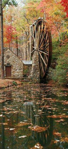 Now THAT'S a water wheel! Berry College Water Wheel in Mount Berry, Georgia. Fall Pictures, Pretty Pictures, Beautiful World, Beautiful Places, Amazing Places, Beautiful Scenery, Berry College, Autumn Scenery, All Nature