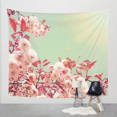 Cherry blossom tapestry, cherry blossom wall art, photo tapestry, large wall hanging, pink home decor, nature decor, cherry blossoms by SophieMakesFabrics on Etsy