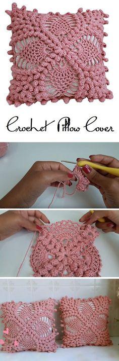Crochet Vintage Pillow cover – Design Peak The Pillow Covering Crochet TutorialCrochet Ombre Plush Square Pillow Cover Free Crochet…Crochet TOP Pattern Vintage Crochet Bikini COVER… Crochet Pillow Pattern, Crochet Cushions, Crochet Motif, Crochet Stitches, Free Crochet, Blanket Crochet, Crochet Flower Tutorial, Crochet Flower Patterns, Crochet Flowers