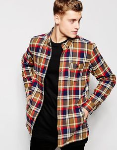 Image 1 of Pull&Bear Shirt in Check with Borg Lining