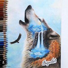 #Draw #art #wolf #lobo #agua #jardin #lindo #animal #pet #aguia #like #follow #followme #desenhos ...