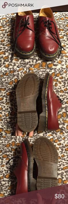 Dr. Martens Air Wair Vintage Made in England These are the Original Dr. Martens, made in England.  They have leather upper, air cushion, and man made soles.  These are in good shape, and as shown by the bottoms, have been worn very little, if at all.  There are a few scuff marks, as shown in the last three pictures.  These shoes are amazing quality and could be worn for many years to come!  Doc martens are iconic for a reason, and these shoes are no exception. Dr. Martens Shoes Flats…