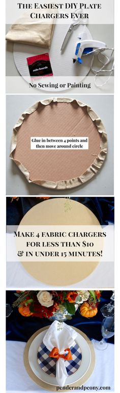 Make 4 Fabric Chargers For Less Than 10 And In Under 15 Minutes Crafts For Teens To Make, Crafts To Sell, Easy Crafts, Diy And Crafts, Easy Diy, Charger Plate Crafts, Charger Plates, Plate Chargers, Wood Chargers