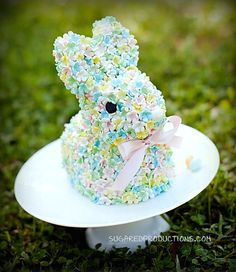 Blossom Bunny Cake ~ adorable cake for Easter! sugar craft tutorial with step-by-step pics ~ *needs Wilton 3D bunny pan (or similar) & any small blossom fondant cutter | from Sugared Productions