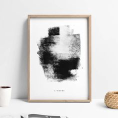 This stunning minimalist abstract art has a black and white, Nordic wall print design. It features the French title LOmbre which translates to The Shadow. One of a set of 3 prints, this large abstract decor is the perfect gift for any minimalist / Scandinavian decor lover. You can