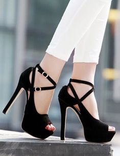 Stiletto High Heels Belt Buckle Peep Toe Shoes Sandals