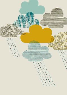 Passing Shower, limited edition giclee print via Etsy be Eloise Renouf Art And Illustration, Stoff Design, April Showers, Art Nouveau, Art Deco, Color Inspiration, Giclee Print, Print Patterns, Creations