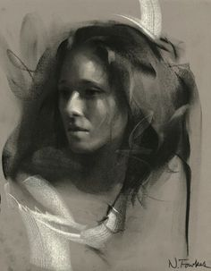 Nathan Fowkes: title unknown [portrait of a woman]; charcoal on Rives paper.