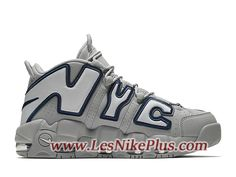 new styles dcfb7 00e16 Sneaker Nike Air More Uptempo NYC Chaussures de BasketBall Pas Cher Pour  Homme Gris Blanc AJ3137