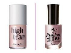 Iluminador líquido: Benefit Iluminador High Beam (13ml): R$ 129,00 no site daSephora Yes! IluminadorFashion Show (10ml): R$ 21,70 na loja daArco Íris Cosméticos.