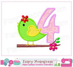 Bird Number 4 applique,Bird Birthday Number 4 applique,Easter Number 4 embroidery, Spring  Number design, Embroidery machine-01 by FancyMonogram on Etsy https://www.etsy.com/listing/222627416/bird-number-4-appliquebird-birthday
