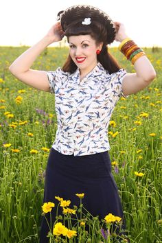 40's Style Retro Aviation Print Blouse by Jitterbuggin on Etsy