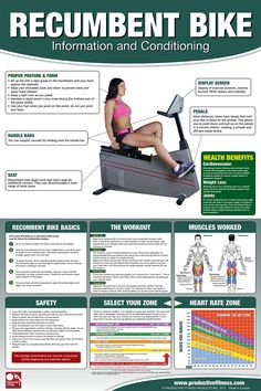 The recumbent bike is an excellent introduction to fitness if you have been sedentary or are suffering from lower back pain. The high back seat gives you lots of back support when it is set properly. This poster shows you the basics of how to adjust the bike to your personal settings, the muscles used, how to set up a properly structured workout.