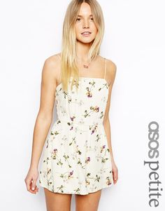 ASOS PETITE Exclusive Vintage Floral Strappy Playsuit