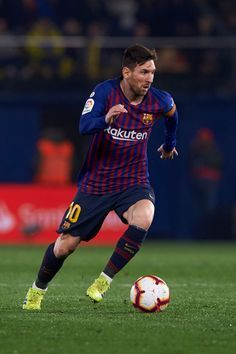 VILLAREAL, SPAIN - APRIL 02: Lionel Messi of FC Barcelona in action during the La Liga match between Villarreal CF and FC Barcelona at Estadio de la Ceramica on April 02, 2019 in Villareal, Spain. (Photo by Quality Sport Images/Getty Images) Barcelona Fc, Fc Barcelona Players, Lionel Messi Barcelona, Leonel Messi, Messi Goal Video, Neymar Jr, Messi Player, Cristiano Ronaldo Celebration, Tattoo