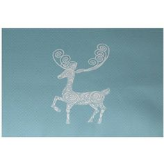 Simply Daisy 5' x 7' Deer Crossing Decorative Holiday Animal Print Indoor Rug, Blue