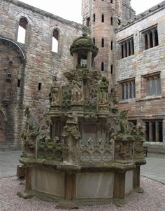 Linlithglow Palace fountain. Apparently, this fountain was made to pour wine, during the brief reign of Charles Edward Stuart (Bonnie Prince Charlie).