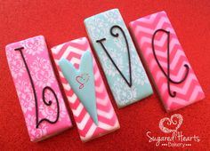 Valentines Day LOVE Cookie Set by SugaredHeartsBakery on Etsy