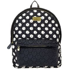 Betsey Johnson Tie The Knot Backpack ($62) ❤ liked on Polyvore featuring bags, backpacks, leather backpack, black leather backpack, black quilted backpack, black rucksack and sport backpack