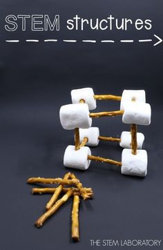 Building with pretzels and marshmallows. I love this STEM activity! Awesome engineering project for kids.