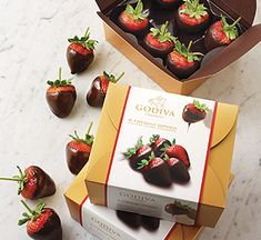 Our juicy strawberries hand dipped in our Belgian milk or dark chocolate. #GODIVA